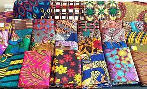 African ANKARA Wax Print Fabric PolyCotton Fat Quarter Bundle Patchwork Quilts.