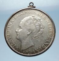 1931 Netherlands Queen WILHELMINA 2.5 Gulden Silver Coin PENDANT JEWELRY i65575