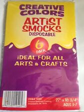 6-PACK OF BLUE DISPOSABLE ARTIST SMOCKS FOR ARTS AND CRAFTS AGES 3-7 NEW