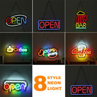 Coffee OPEN BAR Neon Sign Light Beer Pub Party LED Lamp Shop Wall Decor 110-240V