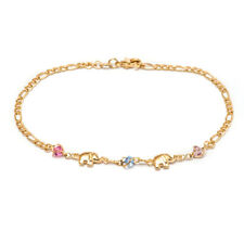 Charm Anklet With Multi-Color Crystals Sevil 18K Gold Plated Elephant