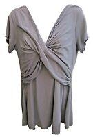 Kindred Bravely XL Gray Mock Wrap Knit Nursing Shirt Top