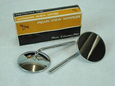 NOS UNIVERSAL 6 INCH STEM CHROME REAR VIEW MOTORCYCLE MIRROR SET SUPERIOR