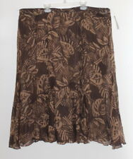 NWT Ralph Lauren Silk Brown Tan Batik Floral Artsy Print Flared Skirt Sz 22W 2X