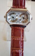 Dressy leather band 2 time zone/dual time fashion women's wrist watch