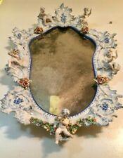 1700s French Delft Meissen Porcelain Mirror Rococco Dresden Style, Cherubs
