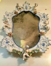 1700s Meissen Dresden Porcelain Mirror Cherubs German Dutch Late Renaissance