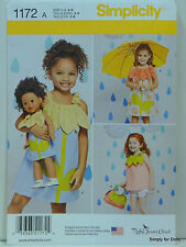 """Simplicity 1172 PATTERN for Girl's DRESS Sz 3-8 & 18"""" American Girl DOLL CLOTHES"""