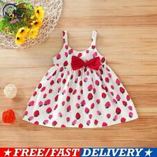 Toddler Baby Kids Girls Sleeveless Holiday Printed Dress Bow Summer Party Dress