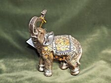 """Bejeweled Mosaic Feng Shui Elephant Statue Figurine Trunk Up Facing Right  6"""""""