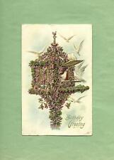FLOWERED BIRD HOUSE, DOVES On Fabulous ASB Vintage 1911 BIRTHDAY Postcard