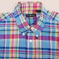 Cotton Traders Mens Short Sleeve Button Up Shirt Medium Plaid Blue Beige Pink