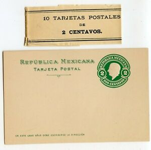 MEXICO POSTAL CARD 2c GREEN WITH ORIGINAL BUNDLE BAND, CLEAN             (A758)