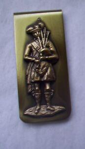 Solid Brass  Money Clip- INGA - BAGPIPER MUSIC design- Men's gift