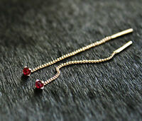 585 Russian Rose Gold 14k Pull Through Threader Drop Red CZ Earrings gift boxed