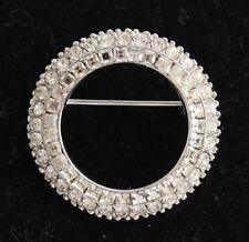 Vintage Designer Signed CINER Silver Tone Clear Rhinestone Circle Pin Brooch FP