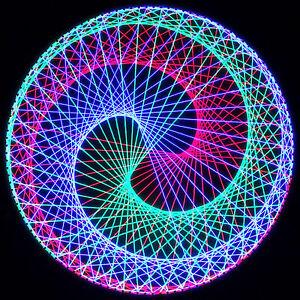 Stringart UV Deko - Goa Psy Trance Party - Schwarzlicht Fadenkunst - Kreis D3A