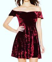 Stunning Quiz Wine Velvet Bardot Skater Dress SIZE 8-18