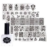 Nail Stamping Image Plates Kit with Peel Off Liquid Tape Cuticle Guard 5pcs/set