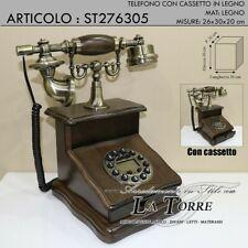 Telefono fisso stile antico cassetto legno telephone colore noce st276305