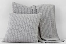 "NEW Bloomingdale's 1872 Cable Knit Decorative Pillow 20""x20"" Grey $145 Y284"