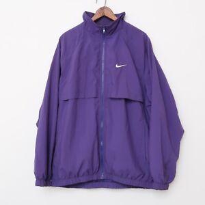 Vintage 90s Nike Gray Tag Retro full zip windbreaker Purple Track jacket Large