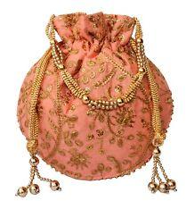 Designer Silk Embroidered Potli Bag Pearl Handle Purse Stylish Women's Handbag 3