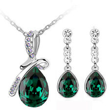 Elegant Emerald Green Bow Knot Jewellery Set Drop Earrings Pendant Necklace S675