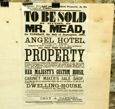 More details for 1877 whitby auction poster hm customs house & cabinet maker angel hotel 27x17