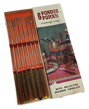 Vintage Mcm Fondue Forks Set of 6 Stainless Steel Wood Handle with Box #25080