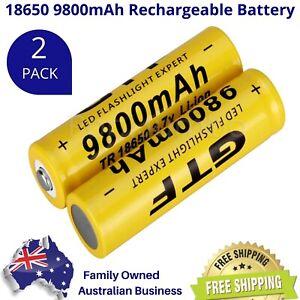 PREMIUM GTF 18650 9800mAh 3.7v BUTTON TOP Lithium Li-Ion 2 Pack