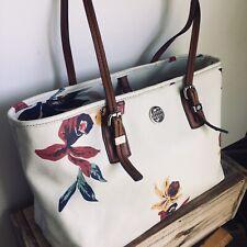 Dana Buckman White Vegan Leather Floral Tote Bag