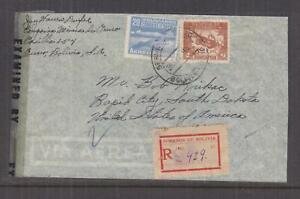 BOLIVIA, 1943 Reg. Airmail Censored cover to USA, 4b., 20b.