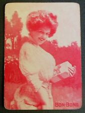 """""""Bon Bons"""" Pretty Lady-Antique Vintage Wide Monotone Named Swap Playing Card"""