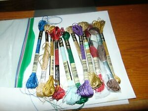 11 Skeins DMC Metallic Light Effects Embroidery Thread Golds- and mix