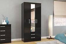 Birlea Lynx High Gloss All Black 3 door Mirror 2 drawer bedroom wardrobe new