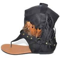 Indianini donna estivi infradito alla caviglia nero freschi con piume e frange f