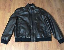 Calvin Klein Men's Full-Zip Chocolate Brown Faux Leather Jacket Size XL
