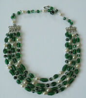 Vintage 1950's 3 Strand Emerald Green & Faux Pearl Bead Necklace Marked Japan