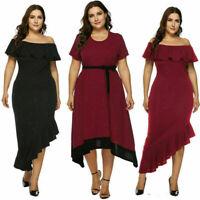 Women plus size off shoulder bodycon party club cocktail evening dress oversized