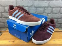 ADIDAS OG MENS UK 10 EU 44 2/3 350 MAROON BLUE GOLD NUBUCK TRAINERS RRP £75 M