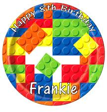 "Lego Building Bricks Personalised Cake Topper 7.5"" Edible Wafer Paper Birthdays"