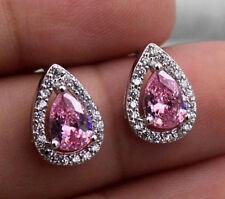 18K White Gold Filled - Hollow Waterdrop Pink Topaz Women Luxe Wedding Earrings