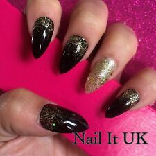 Hand Painted Full Cover False Nails. Stiletto Black & Gold Glitter Nails.24 Nail