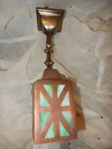 Mission Arts & Crafts Brass Pendant Light Fixture w Slag Glass Shade