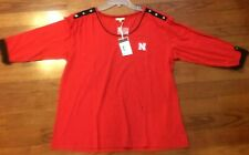 NWT! Nebraska Cornhuskers 3/4 Sleeve Roll Up Top By UG Apparel Women's XXL