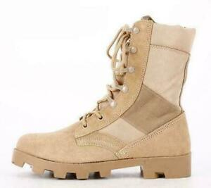 Mens military outdoor army desert boots lace up zip breath combat work shoes GGG