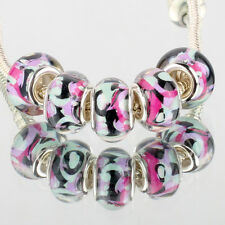5pcs SILVER MURANO glass bead LAMPWORK For European Charm leather Bracelet DIY