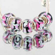 5pcs SILVER MURANO glass bead LAMPWORK For European Charm leather Bracelet DIY