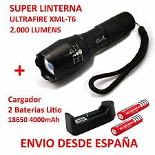 Kit Linterna Ultrafire XML-T6 + Cargador + 2 Baterías Litio 4000 mAh Flashlight